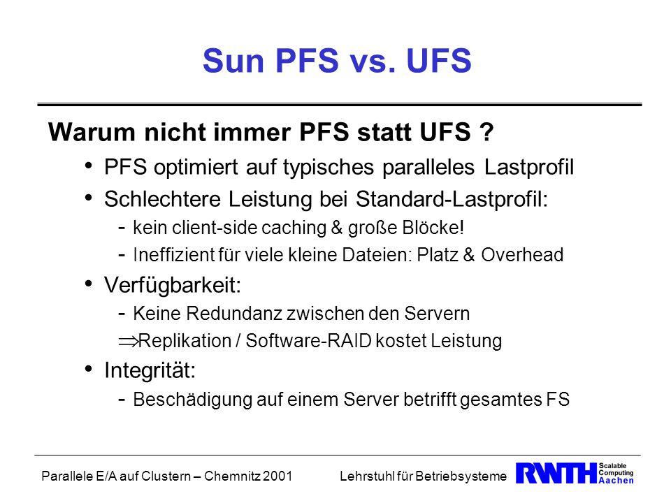 Parallele E/A auf Clustern – Chemnitz 2001Lehrstuhl für Betriebsysteme Sun PFS vs. UFS Warum nicht immer PFS statt UFS ? PFS optimiert auf typisches p