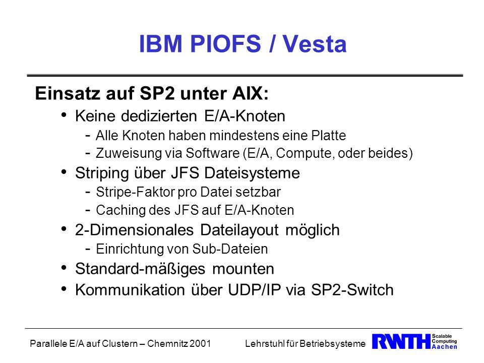 Parallele E/A auf Clustern – Chemnitz 2001Lehrstuhl für Betriebsysteme IBM PIOFS / Vesta Einsatz auf SP2 unter AIX: Keine dedizierten E/A-Knoten - All
