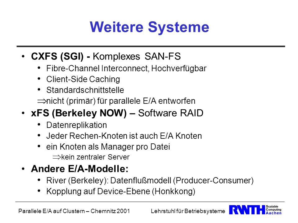 Parallele E/A auf Clustern – Chemnitz 2001Lehrstuhl für Betriebsysteme Weitere Systeme CXFS (SGI) - Komplexes SAN-FS Fibre-Channel Interconnect, Hochv