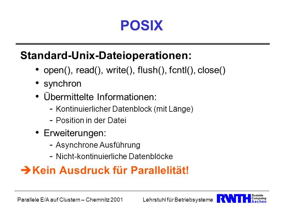 Parallele E/A auf Clustern – Chemnitz 2001Lehrstuhl für Betriebsysteme POSIX Standard-Unix-Dateioperationen: open(), read(), write(), flush(), fcntl()