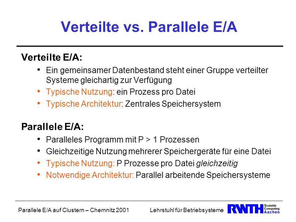 Parallele E/A auf Clustern – Chemnitz 2001Lehrstuhl für Betriebsysteme Verteilte vs. Parallele E/A Verteilte E/A: Ein gemeinsamer Datenbestand steht e