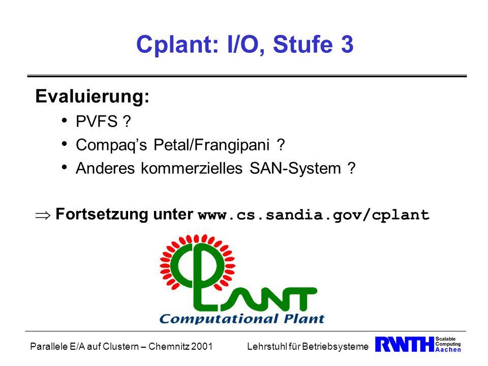 Parallele E/A auf Clustern – Chemnitz 2001Lehrstuhl für Betriebsysteme Cplant: I/O, Stufe 3 Evaluierung: PVFS ? Compaqs Petal/Frangipani ? Anderes kom