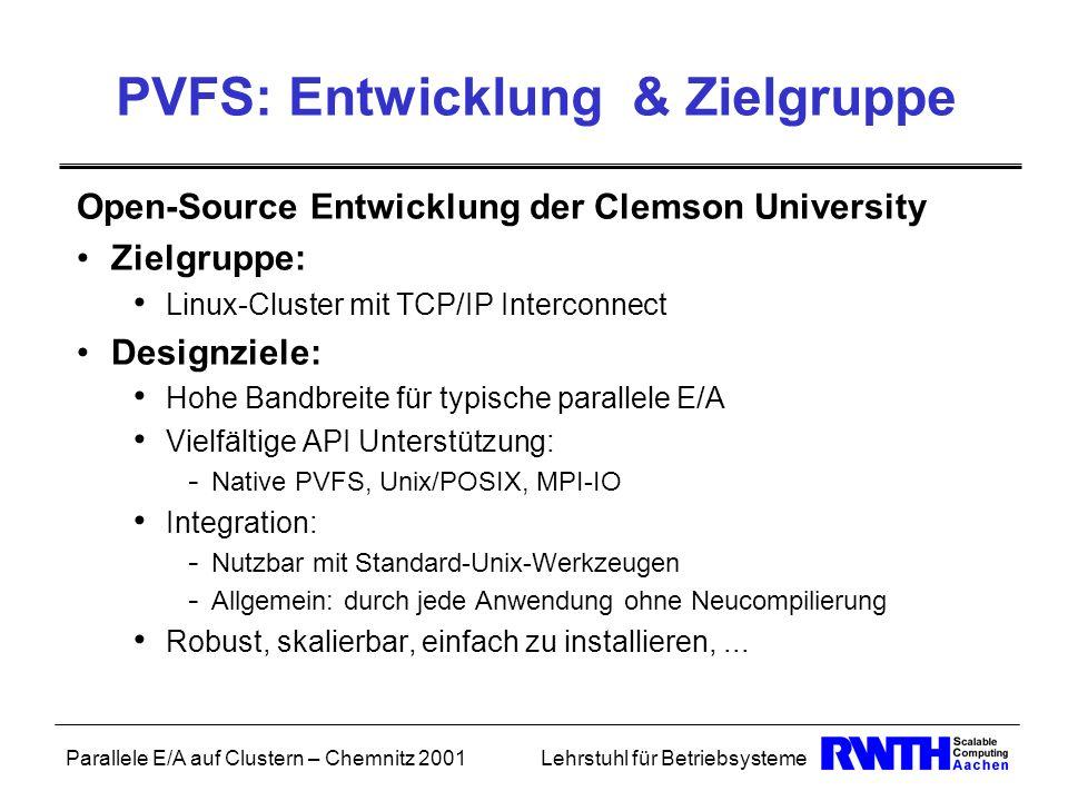 Parallele E/A auf Clustern – Chemnitz 2001Lehrstuhl für Betriebsysteme PVFS: Entwicklung & Zielgruppe Open-Source Entwicklung der Clemson University Z