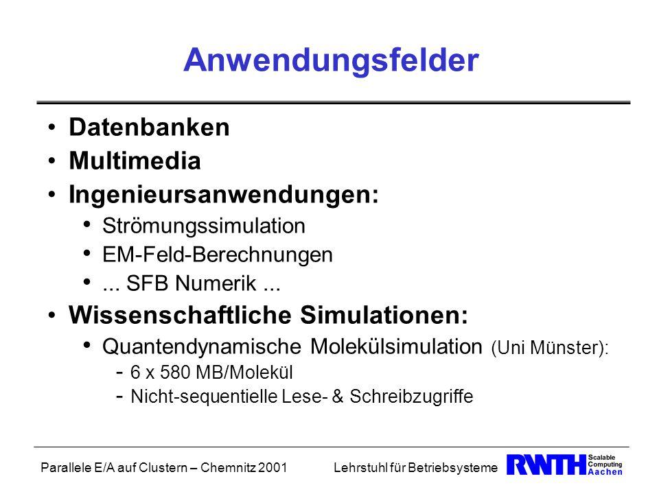 Parallele E/A auf Clustern – Chemnitz 2001Lehrstuhl für Betriebsysteme Anwendungsfelder Datenbanken Multimedia Ingenieursanwendungen: Strömungssimulat