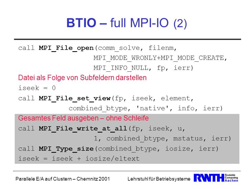 Parallele E/A auf Clustern – Chemnitz 2001Lehrstuhl für Betriebsysteme BTIO – full MPI-IO (2) call MPI_File_open(comm_solve, filenm, MPI_MODE_WRONLY+M