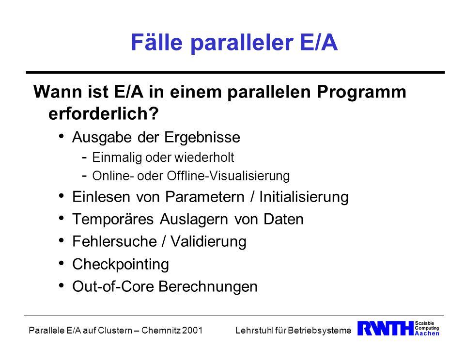 Parallele E/A auf Clustern – Chemnitz 2001Lehrstuhl für Betriebsysteme Fälle paralleler E/A Wann ist E/A in einem parallelen Programm erforderlich? Au
