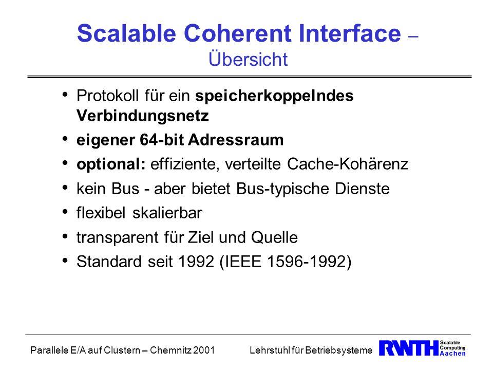 Parallele E/A auf Clustern – Chemnitz 2001Lehrstuhl für Betriebsysteme Scalable Coherent Interface – Übersicht Protokoll für ein speicherkoppelndes Ve