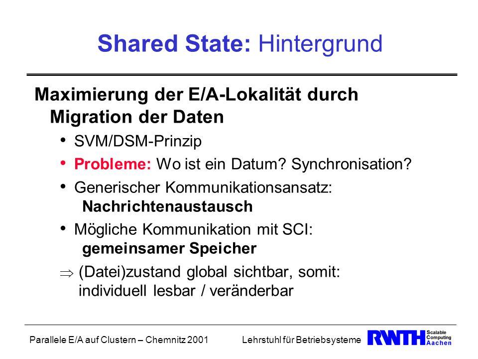 Parallele E/A auf Clustern – Chemnitz 2001Lehrstuhl für Betriebsysteme Shared State: Hintergrund Maximierung der E/A-Lokalität durch Migration der Dat