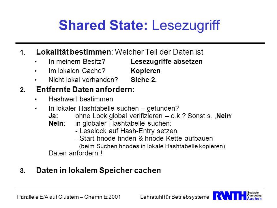 Parallele E/A auf Clustern – Chemnitz 2001Lehrstuhl für Betriebsysteme Shared State: Lesezugriff 1. Lokalität bestimmen: Welcher Teil der Daten ist In