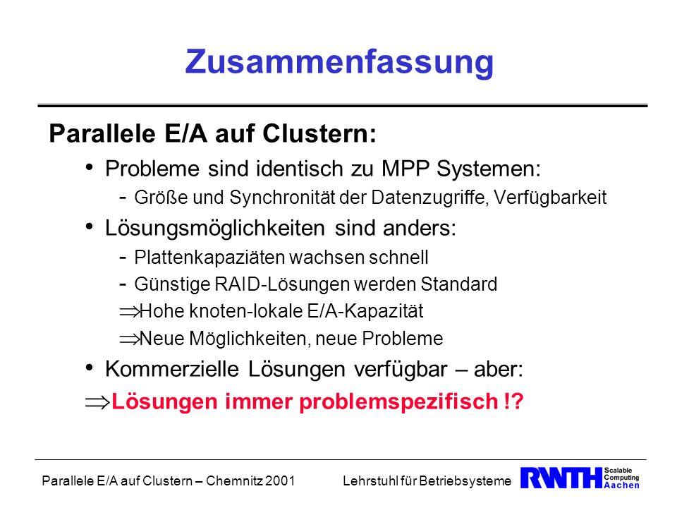 Parallele E/A auf Clustern – Chemnitz 2001Lehrstuhl für Betriebsysteme Zusammenfassung Parallele E/A auf Clustern: Probleme sind identisch zu MPP Syst