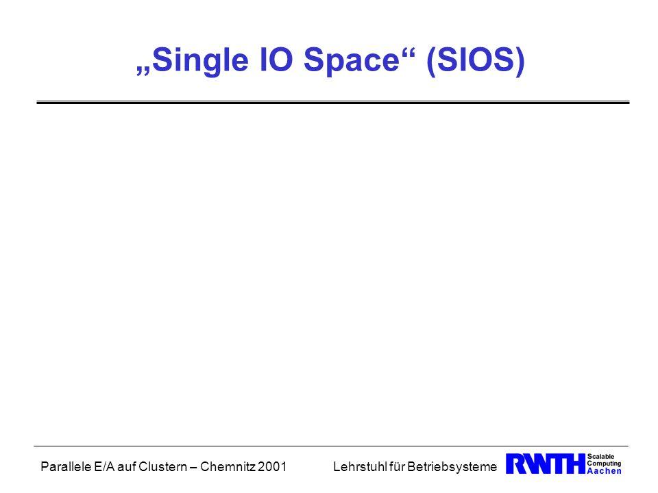 Parallele E/A auf Clustern – Chemnitz 2001Lehrstuhl für Betriebsysteme Single IO Space (SIOS)