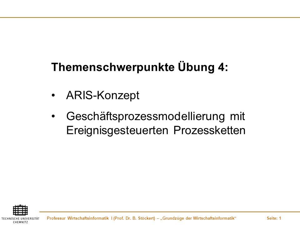 Professur Wirtschaftsinformatik I (Prof. Dr. B. Stöckert) – Grundzüge der WirtschaftsinformatikSeite: 1 Themenschwerpunkte Übung 4: ARIS-Konzept Gesch