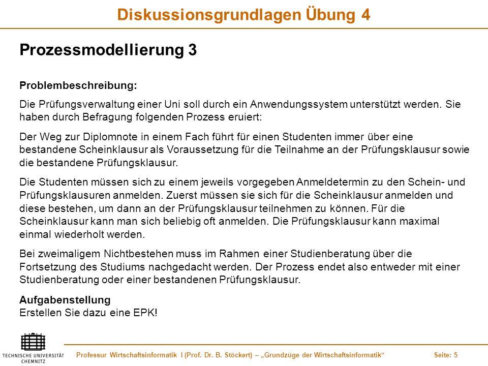 Professur Wirtschaftsinformatik I (Prof. Dr. B. Stöckert) – Grundzüge der WirtschaftsinformatikSeite: 5 Diskussionsgrundlagen Übung 4 Die Prüfungsverw
