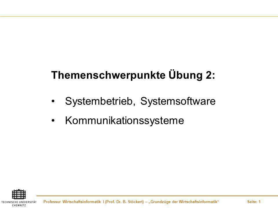Professur Wirtschaftsinformatik I (Prof. Dr. B. Stöckert) – Grundzüge der WirtschaftsinformatikSeite: 1 Themenschwerpunkte Übung 2: Systembetrieb, Sys