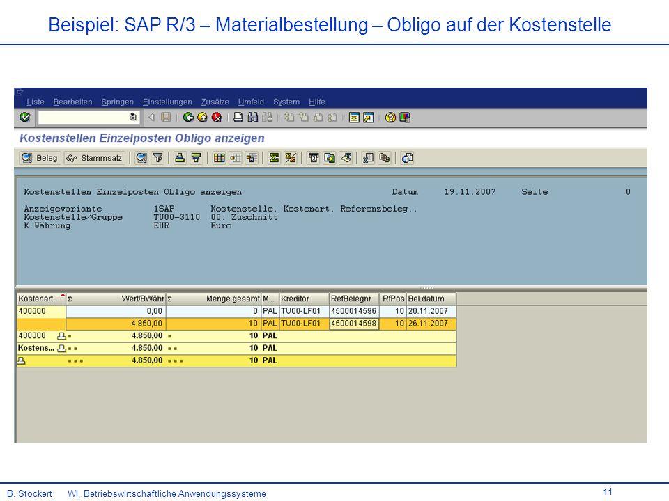 11 Beispiel: SAP R/3 – Materialbestellung – Obligo auf der Kostenstelle B.