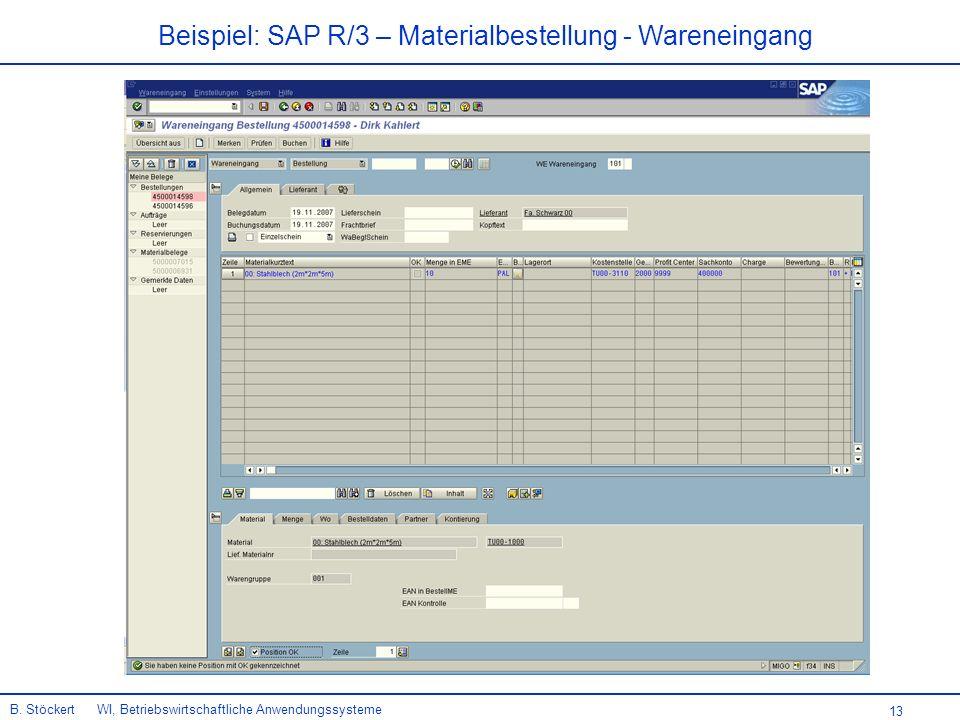 13 Beispiel: SAP R/3 – Materialbestellung - Wareneingang B.