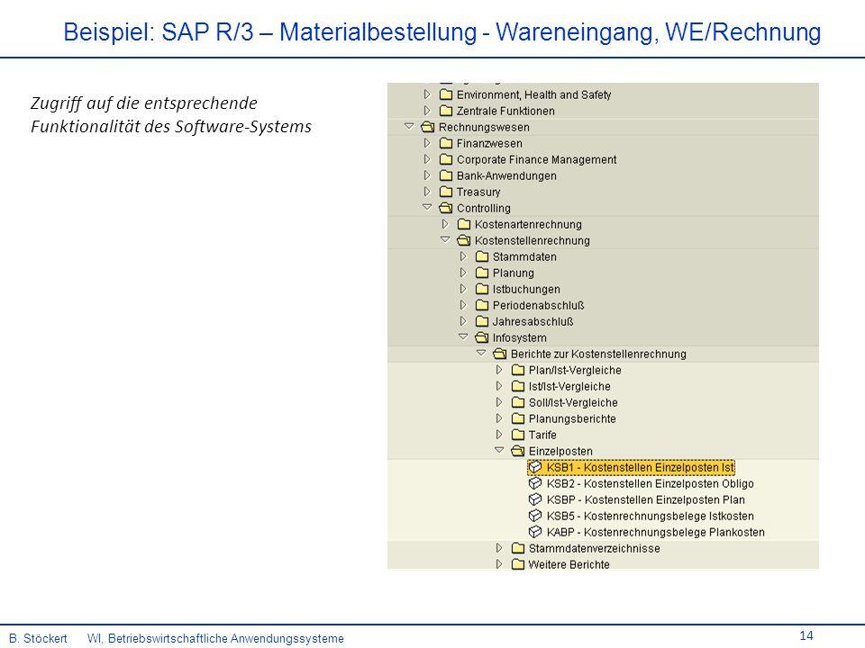 14 Beispiel: SAP R/3 – Materialbestellung - Wareneingang, WE/Rechnung B.