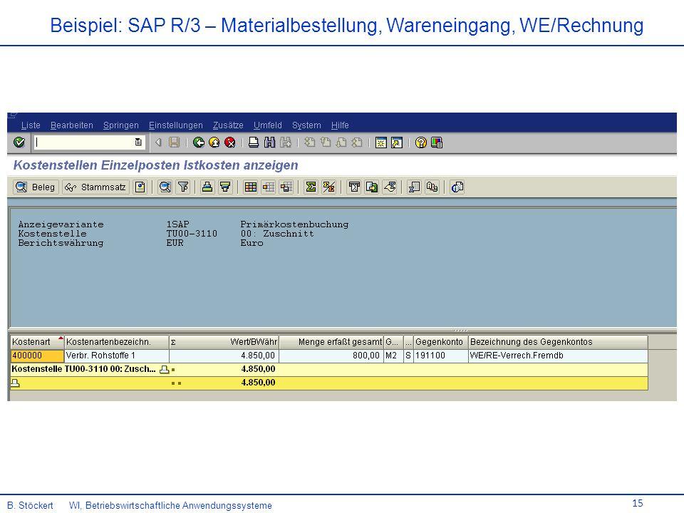 15 Beispiel: SAP R/3 – Materialbestellung, Wareneingang, WE/Rechnung B.