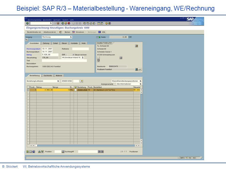 17 Beispiel: SAP R/3 – Materialbestellung - Wareneingang, WE/Rechnung B.