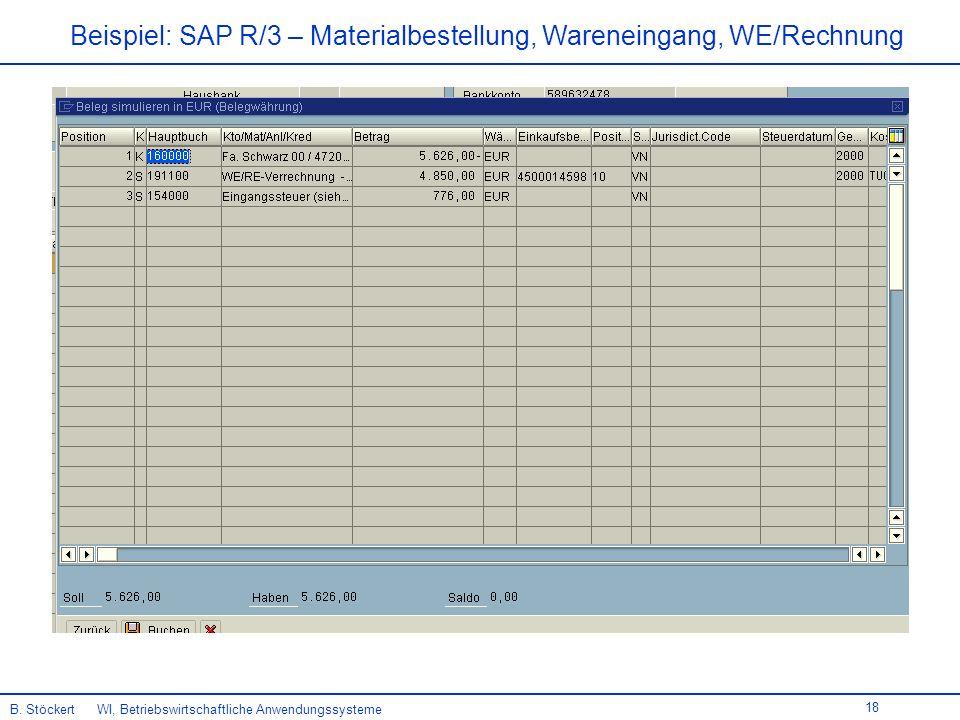 18 Beispiel: SAP R/3 – Materialbestellung, Wareneingang, WE/Rechnung B.