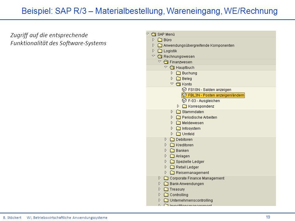 19 Beispiel: SAP R/3 – Materialbestellung, Wareneingang, WE/Rechnung B.