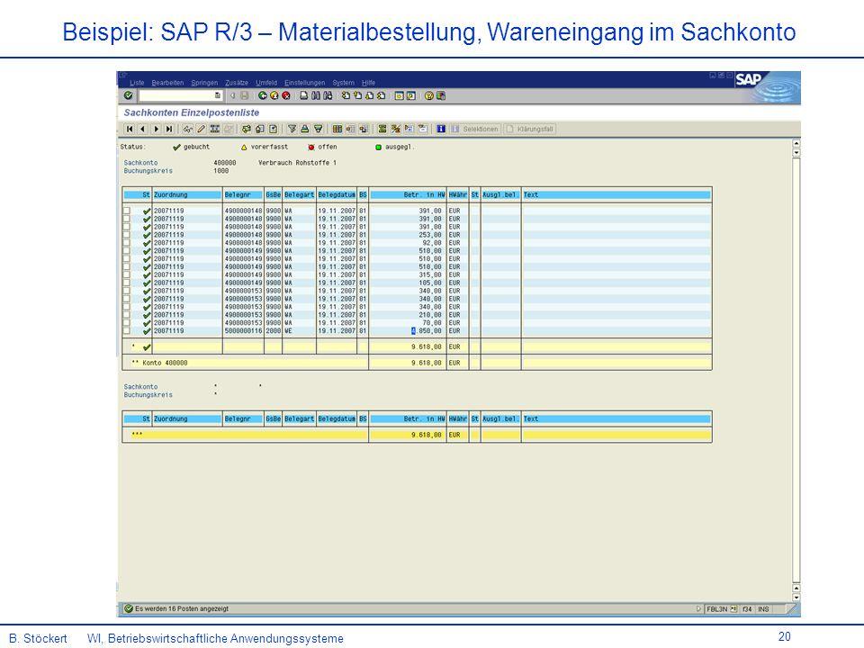 20 Beispiel: SAP R/3 – Materialbestellung, Wareneingang im Sachkonto B.