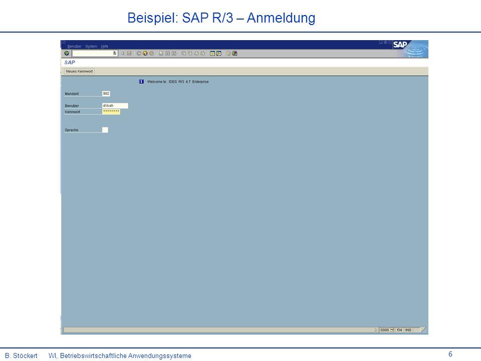 6 Beispiel: SAP R/3 – Anmeldung B. Stöckert WI, Betriebswirtschaftliche Anwendungssysteme