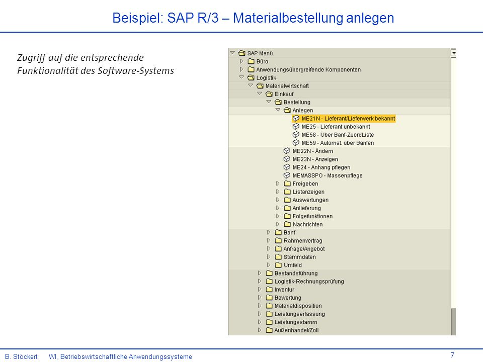 7 Zugriff auf die entsprechende Funktionalität des Software-Systems Beispiel: SAP R/3 – Materialbestellung anlegen