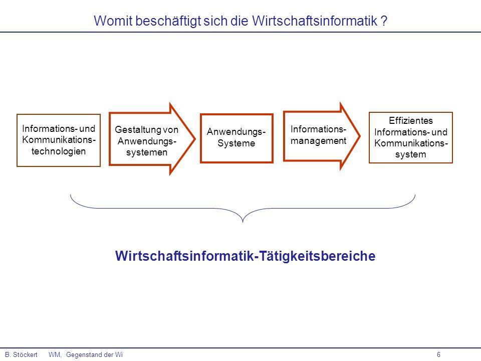 6 Womit beschäftigt sich die Wirtschaftsinformatik ? B. Stöckert WM, Gegenstand der Wi Wirtschaftsinformatik-Tätigkeitsbereiche Informations- und Komm