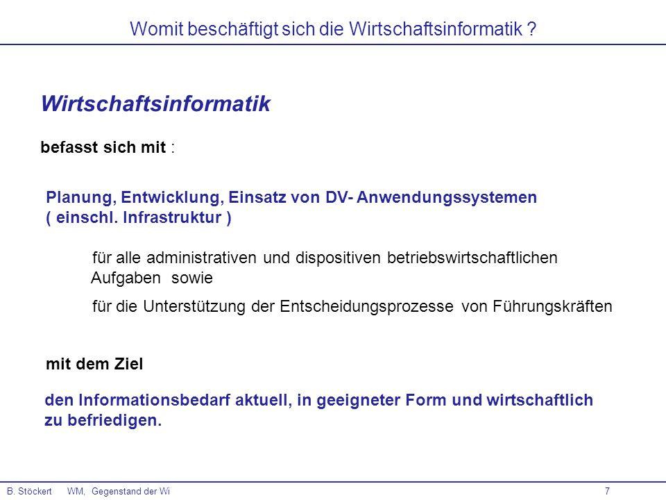 7 Womit beschäftigt sich die Wirtschaftsinformatik ? B. Stöckert WM, Gegenstand der Wi Wirtschaftsinformatik befasst sich mit : Planung, Entwicklung,