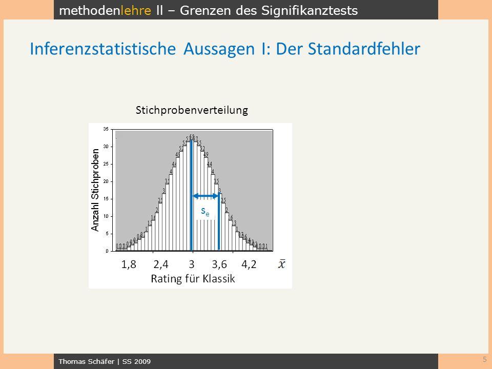 methodenlehre ll – Grenzen des Signifikanztests Thomas Schäfer   SS 2009 6 Inferenzstatistische Aussagen II: Konfidenzintervalle der Wert 0 wird nicht überdeckt der Wert 0 wird überdeckt z.B.