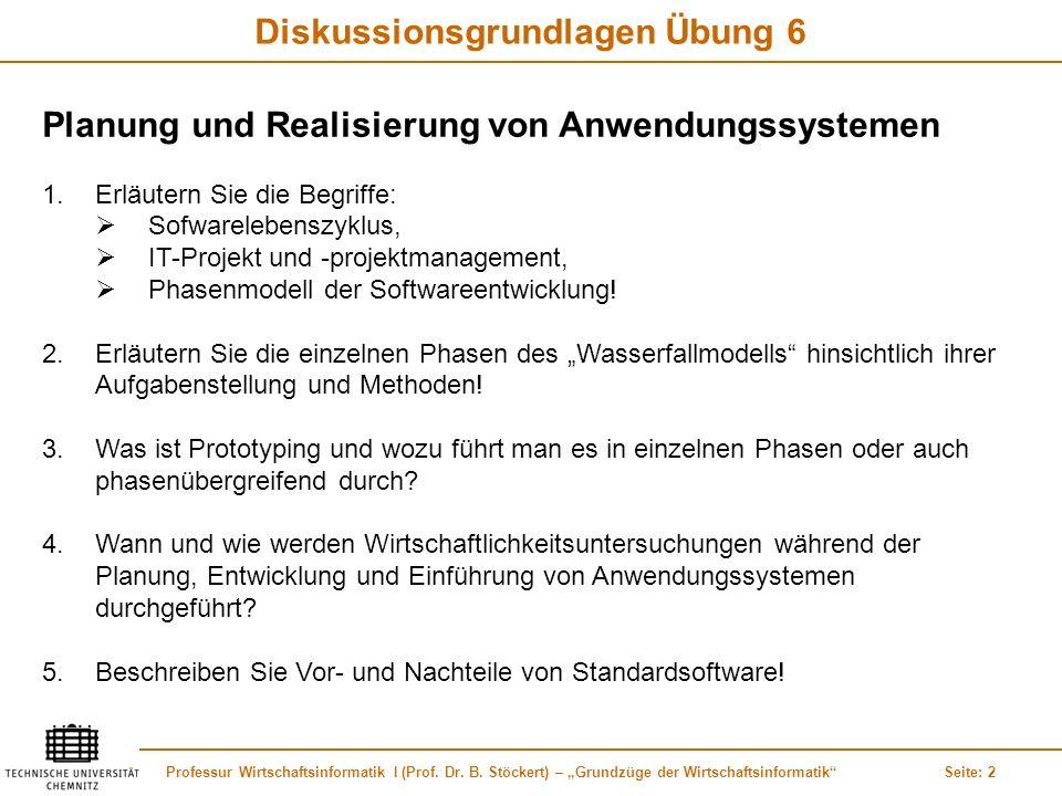 Professur Wirtschaftsinformatik I (Prof. Dr. B. Stöckert) – Grundzüge der WirtschaftsinformatikSeite: 2 Diskussionsgrundlagen Übung 6 Planung und Real