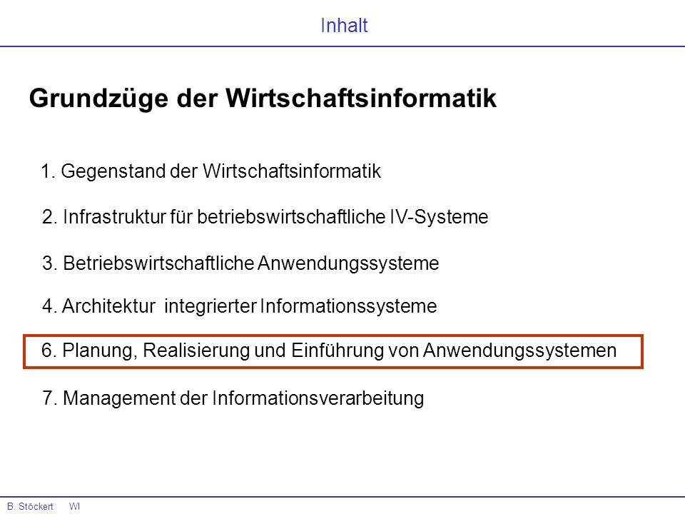 B. Stöckert WI Warum ? 6. Planung, Realisierung und Einführung von Anwendungssystemen