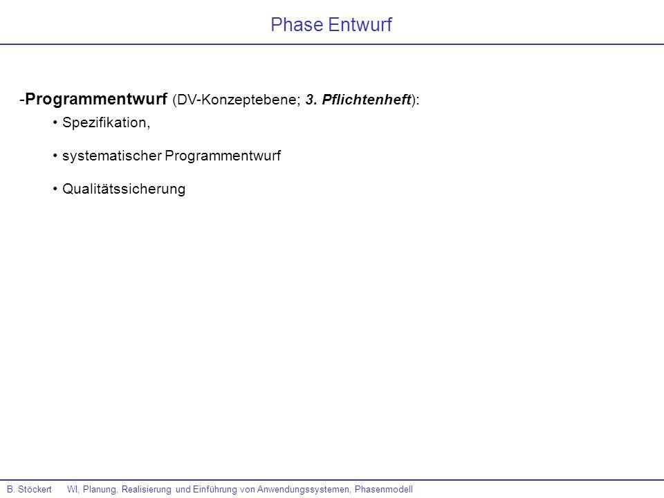 B. Stöckert WI, Planung, Realisierung und Einführung von Anwendungssystemen, Phasenmodell Phase Entwurf -Programmentwurf (DV-Konzeptebene; 3. Pflichte