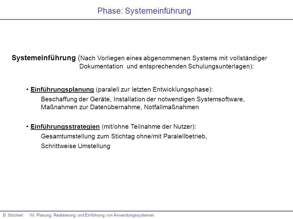 B. Stöckert WI, Planung, Realisierung und Einführung von Anwendungssystemen Phase: Systemeinführung Systemeinführung ( Nach Vorliegen eines abgenommen