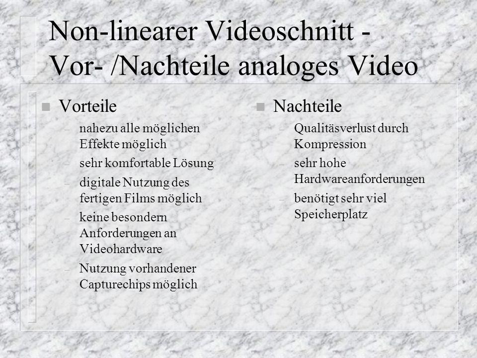 Non-linearer Videoschnitt - Vor- /Nachteile analoges Video n Vorteile – nahezu alle möglichen Effekte möglich – sehr komfortable Lösung – digitale Nut