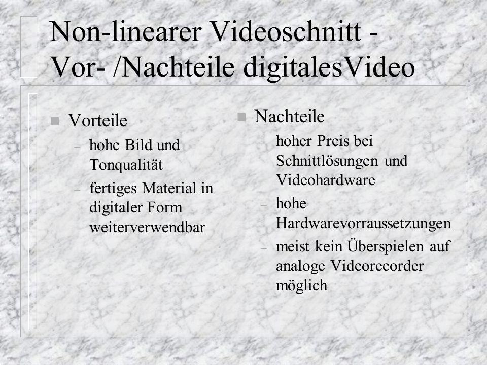 Non-linearer Videoschnitt - Vor- /Nachteile digitalesVideo n Vorteile – hohe Bild und Tonqualität – fertiges Material in digitaler Form weiterverwendb