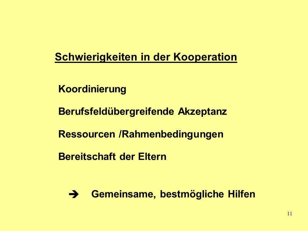 11 Schwierigkeiten in der Kooperation Koordinierung Berufsfeldübergreifende Akzeptanz Ressourcen /Rahmenbedingungen Bereitschaft der Eltern Gemeinsame