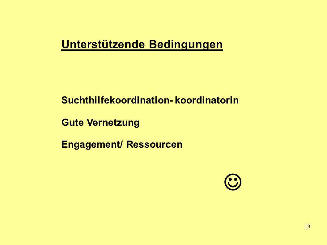 13 Unterstützende Bedingungen Suchthilfekoordination- koordinatorin Gute Vernetzung Engagement/ Ressourcen