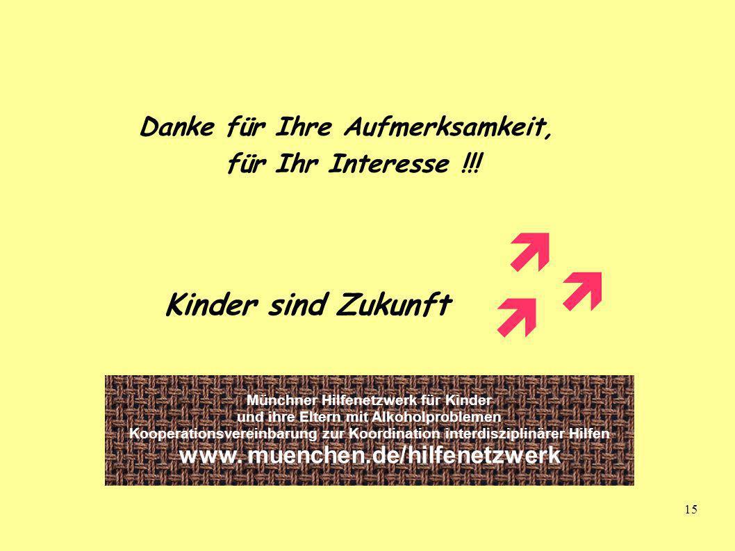 15 Danke für Ihre Aufmerksamkeit, für Ihr Interesse !!! Kinder sind Zukunft Münchner Hilfenetzwerk für Kinder und ihre Eltern mit Alkoholproblemen Koo