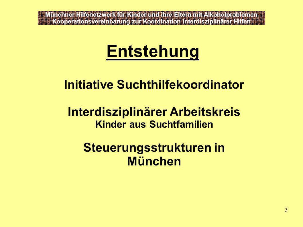 3 Münchner Hilfenetzwerk für Kinder und ihre Eltern mit Alkoholproblemen Kooperationsvereinbarung zur Koordination interdisziplinärer Hilfen Entstehun