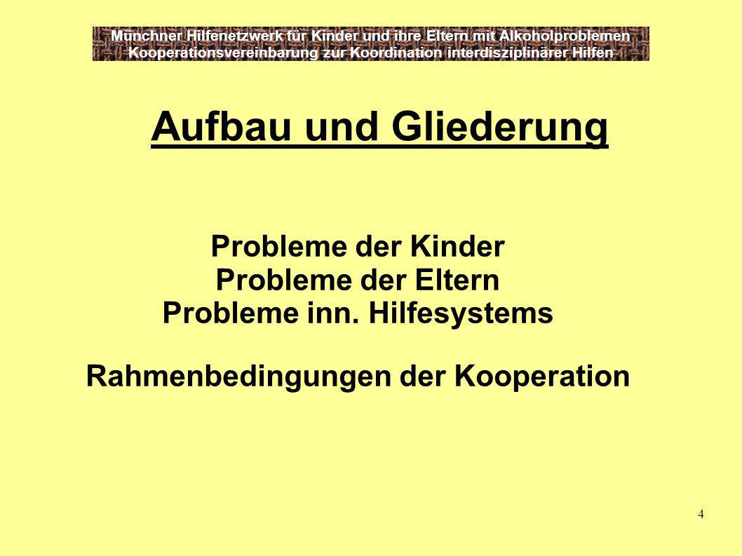 4 Münchner Hilfenetzwerk für Kinder und ihre Eltern mit Alkoholproblemen Kooperationsvereinbarung zur Koordination interdisziplinärer Hilfen Aufbau un