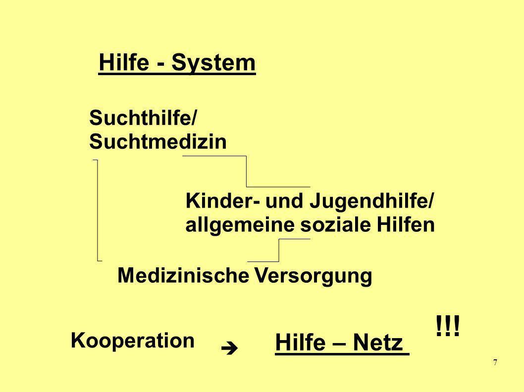 7 Hilfe - System Suchthilfe/ Suchtmedizin Kinder- und Jugendhilfe/ allgemeine soziale Hilfen Medizinische Versorgung Hilfe – Netz !!! Kooperation