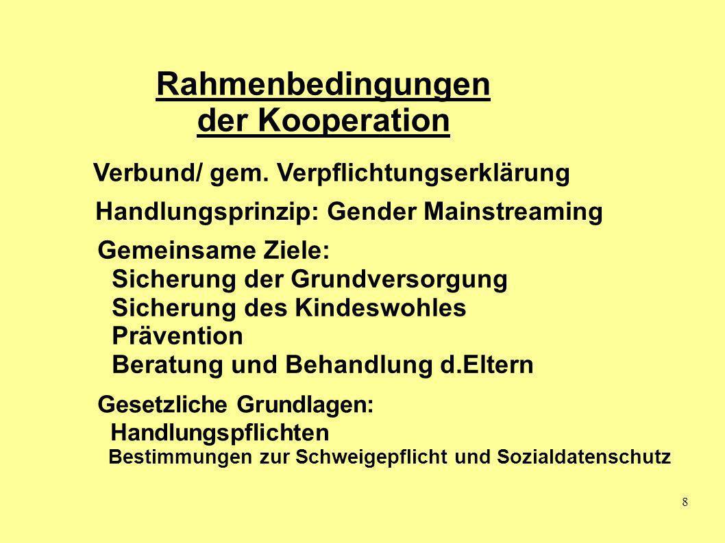8 Rahmenbedingungen der Kooperation Handlungsprinzip: Gender Mainstreaming Gemeinsame Ziele: Sicherung der Grundversorgung Sicherung des Kindeswohles