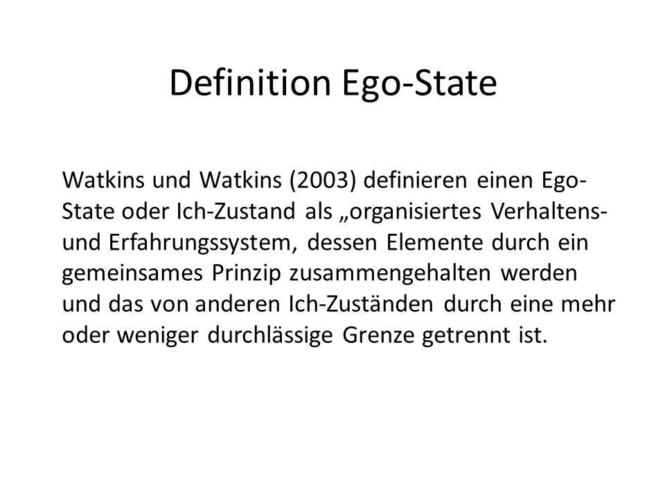 Definition Ego-State Watkins und Watkins (2003) definieren einen Ego- State oder Ich-Zustand als organisiertes Verhaltens- und Erfahrungssystem, desse