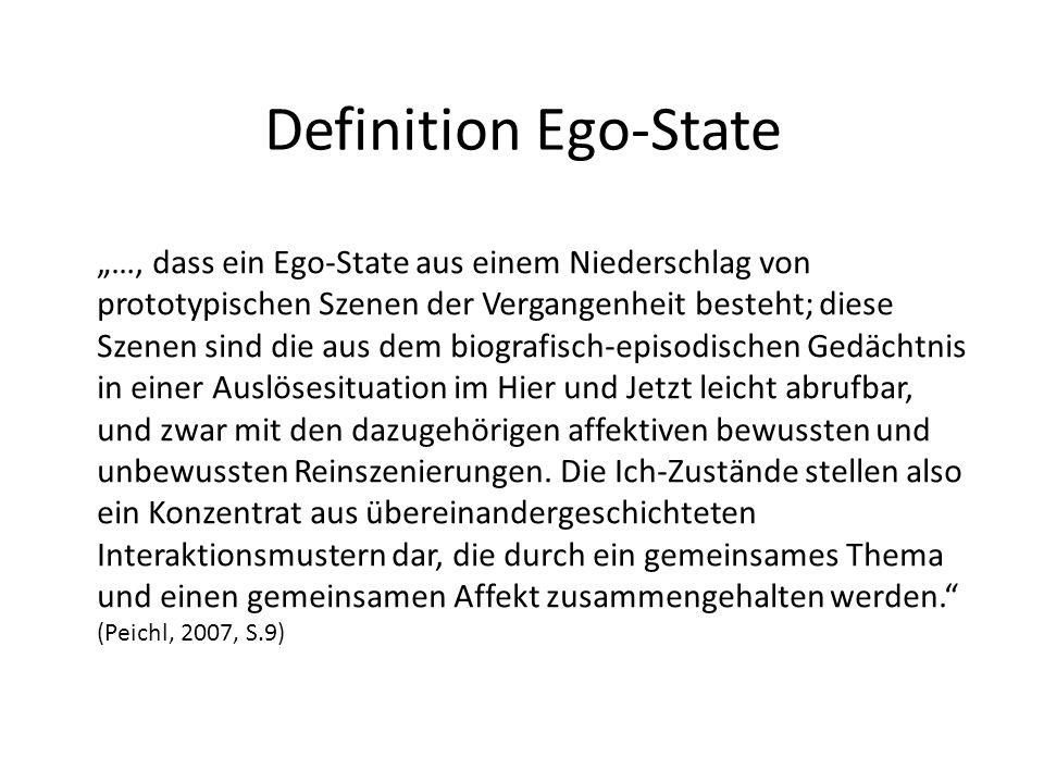 Definition Ego-State …, dass ein Ego-State aus einem Niederschlag von prototypischen Szenen der Vergangenheit besteht; diese Szenen sind die aus dem b