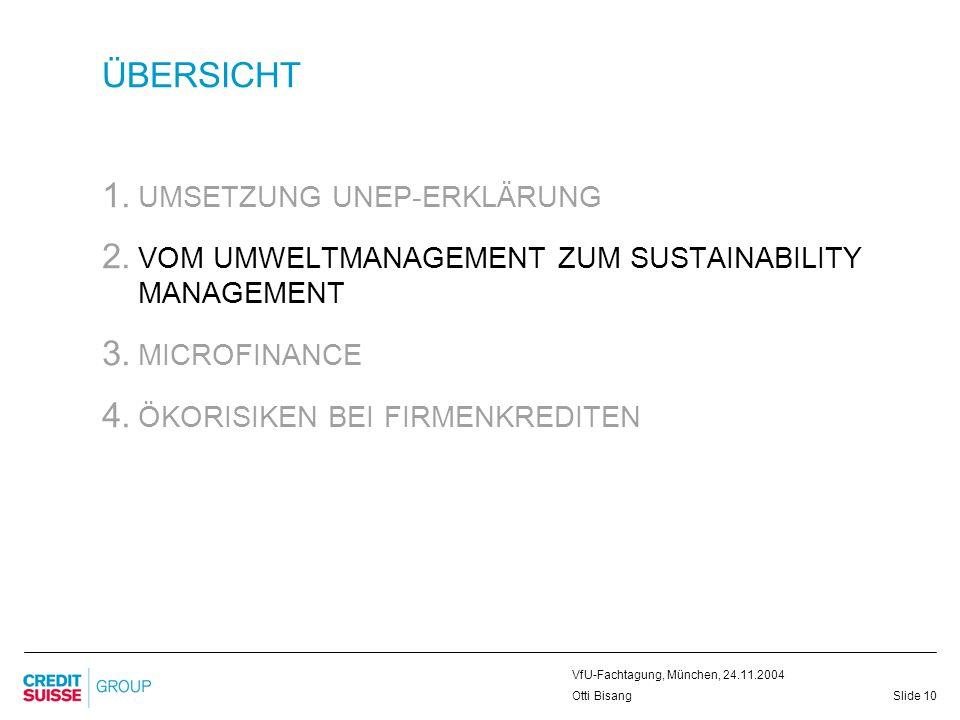 Slide 10 VfU-Fachtagung, München, 24.11.2004 Otti Bisang ÜBERSICHT 1. UMSETZUNG UNEP-ERKLÄRUNG 2. VOM UMWELTMANAGEMENT ZUM SUSTAINABILITY MANAGEMENT 3