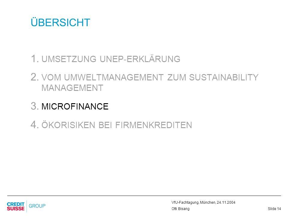 Slide 14 VfU-Fachtagung, München, 24.11.2004 Otti Bisang ÜBERSICHT 1. UMSETZUNG UNEP-ERKLÄRUNG 2. VOM UMWELTMANAGEMENT ZUM SUSTAINABILITY MANAGEMENT 3