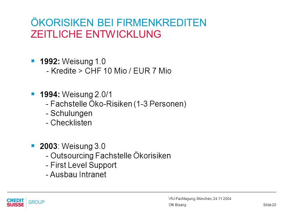 Slide 20 VfU-Fachtagung, München, 24.11.2004 Otti Bisang ÖKORISIKEN BEI FIRMENKREDITEN ZEITLICHE ENTWICKLUNG 1992: Weisung 1.0 - Kredite > CHF 10 Mio