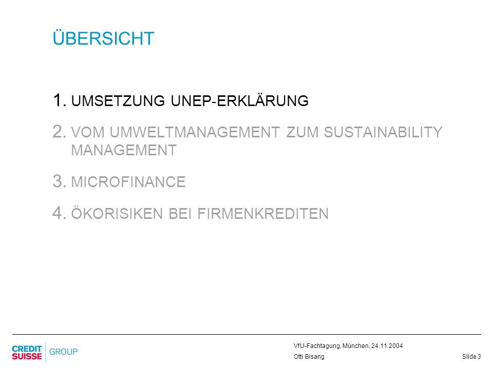 Slide 4 VfU-Fachtagung, München, 24.11.2004 Otti Bisang UMSETZUNG UNEP-ERKLÄRUNG VERPFLICHTUNG ZU NACHHALTIGER ENTWICKLUNG ICC (1991) UNEP-Erklärungen 1992/1995 Umweltpolitik 1995/1998/2002 Code of Conduct 1999/2004 Global Compact (2000) Equator Principles (2003)